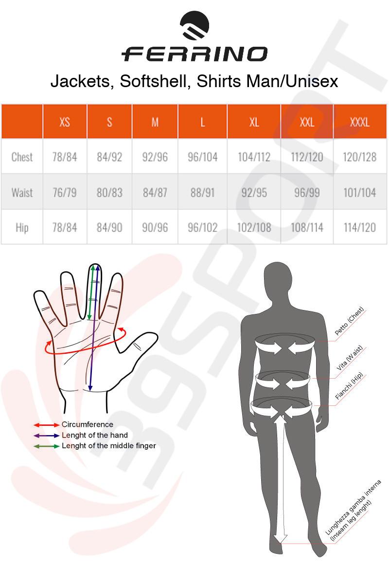 Ferrino Jackets Size Chart ENG