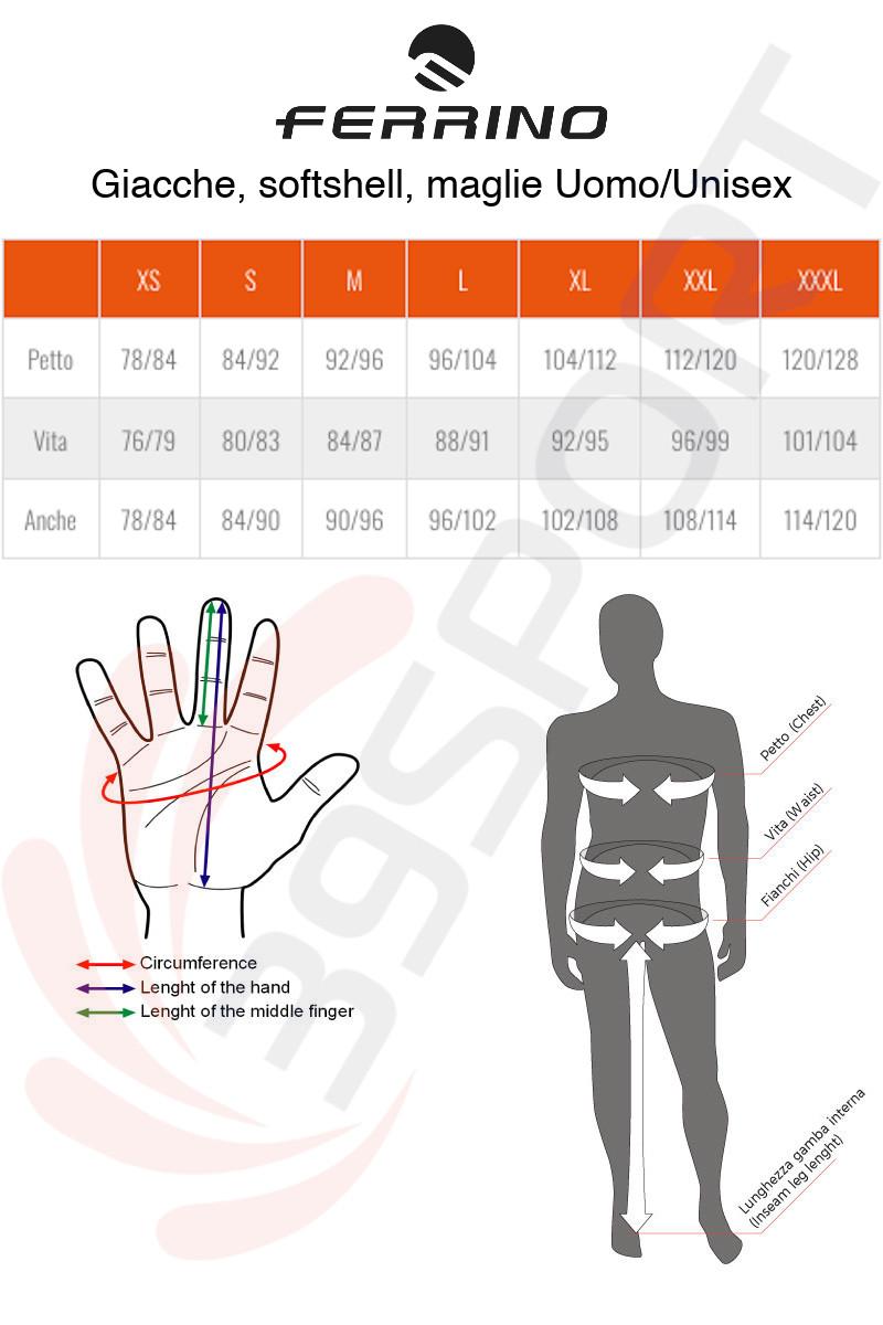 Ferrino Jackets Size Chart ITA